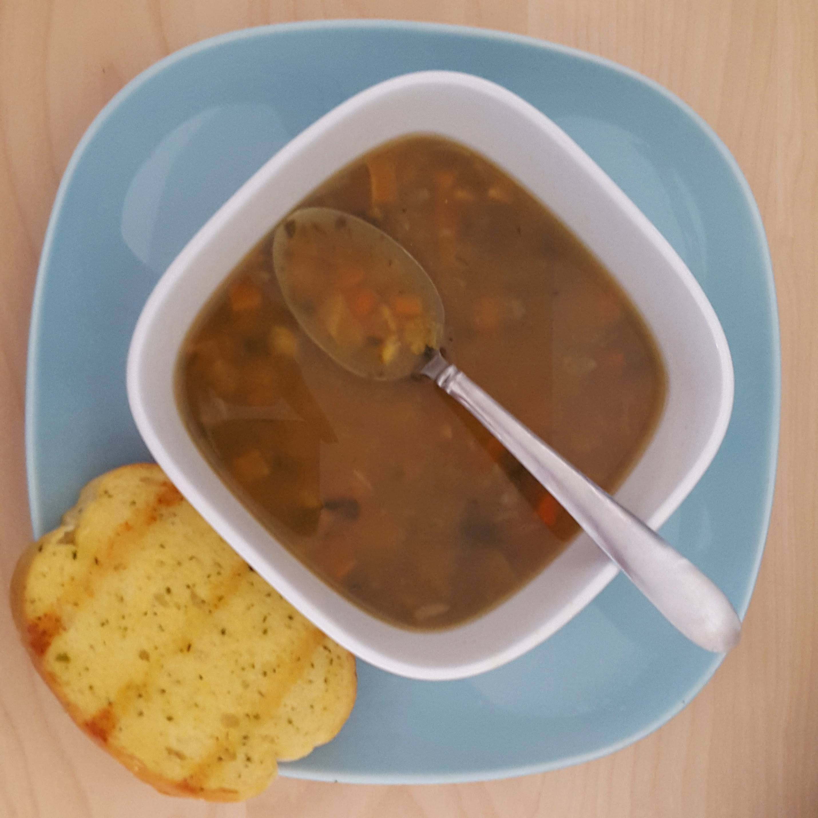 Split Pea Curry Soup with Garlic Bread